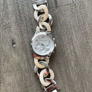 Michael Kors Silver and Pearl Marble Chain Watch